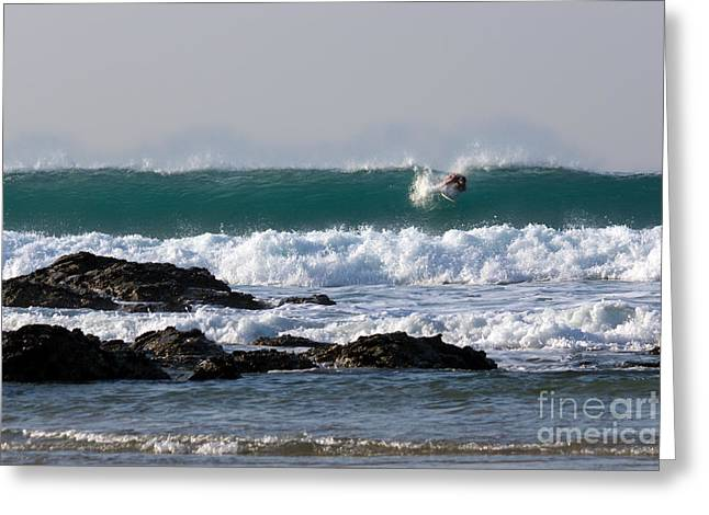 Blue Green Wave Greeting Cards - Surfing in Cornwall Greeting Card by Brian Roscorla