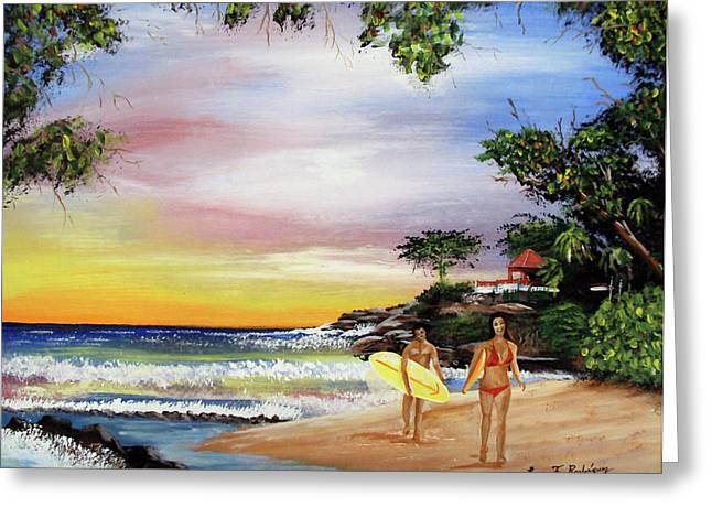 Rincon Paintings Greeting Cards - Surfing In Rincon Greeting Card by Luis F Rodriguez