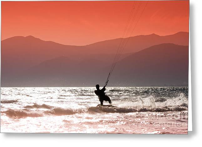 Kite Surfing Greeting Cards - Surfing into the sunset Greeting Card by Gabriela Insuratelu