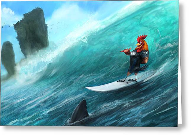 Shark Digital Art Greeting Cards - Surfing Rooster Greeting Card by Steve Goad