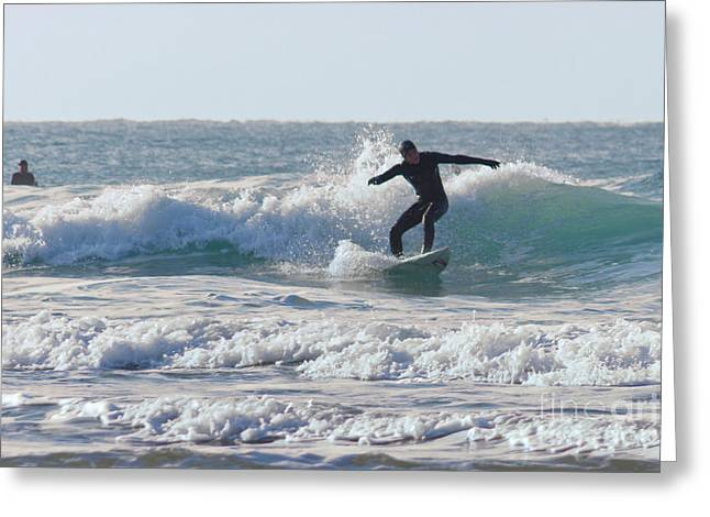 Surfing Photos Greeting Cards - Surfing The Atlantic Greeting Card by Brian Roscorla