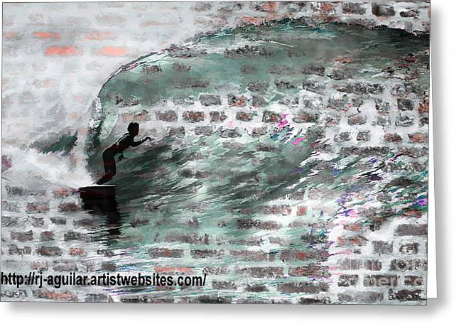 Surfing the Wall Greeting Card by RJ Aguilar