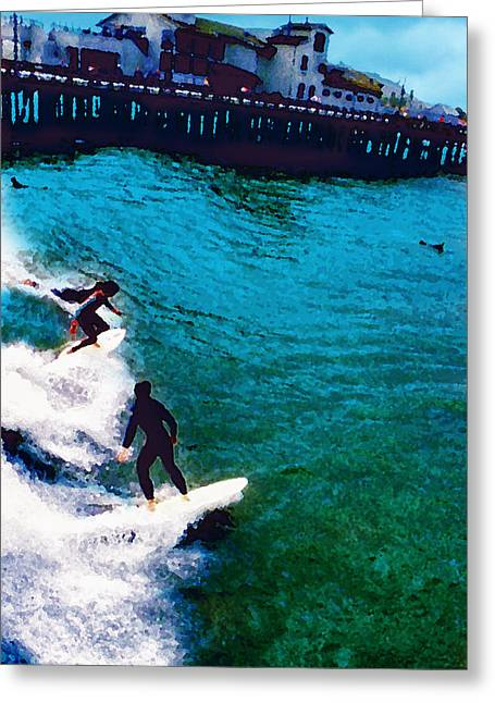 Stearns Wharf Greeting Cards - Surfing Through Stearns Wharf Greeting Card by Ron Regalado