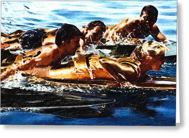 Surfer Girl Greeting Cards - Surfing with the Boys Greeting Card by Ron Regalado