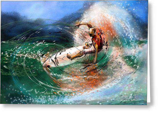 Wind Surfing Art Paintings Greeting Cards - Surfscape 03 Greeting Card by Miki De Goodaboom
