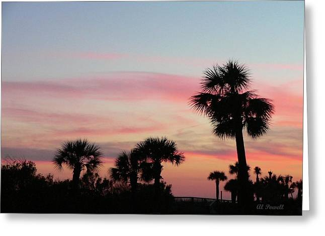 Palmetto Trees Greeting Cards - Surfside Sunset Greeting Card by Al Powell Photography USA