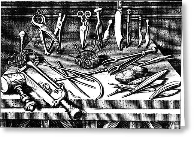 Pare Photographs Greeting Cards - Surgical Equipment, 16th Century Greeting Card by Science Source