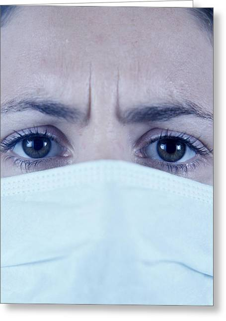 Female Mask Greeting Cards - Surgical Mask Greeting Card by Cristina Pedrazzini
