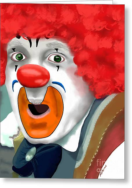 Surprise Greeting Cards - Surprised Clown Greeting Card by Methune Hively