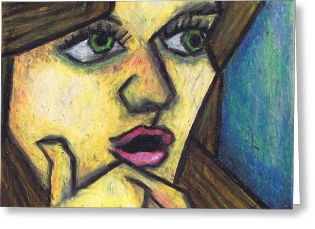 Surprised Girl Greeting Card by Kamil Swiatek