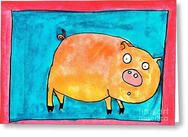 Surprise Greeting Cards - Surprised Pig Greeting Card by Nick Abrams Age Thirteen