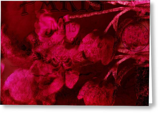 Red Art Greeting Cards - Surreal Abstract Dark Red Impressionistic Tulips Greeting Card by Kathy Fornal