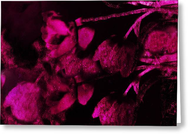 Dark Pink Greeting Cards - Surreal Abstract Dark Rose Impressionistic Tulips Greeting Card by Kathy Fornal