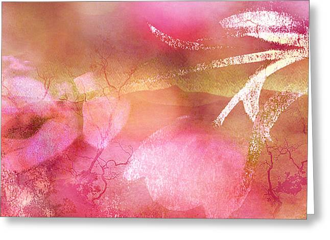 Flower Photos Greeting Cards - Surreal Abstract Dreamy Pink Tulips Impressionistic Greeting Card by Kathy Fornal