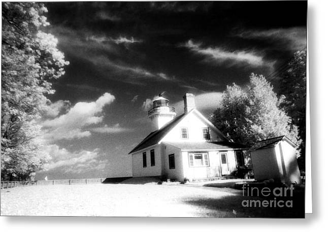 Surreal Infrared Dreamy Landscape Greeting Cards - Surreal Black White Infrared Black Sky Lighthouse - Traverse City Michigan Mission Point Lighthouse Greeting Card by Kathy Fornal