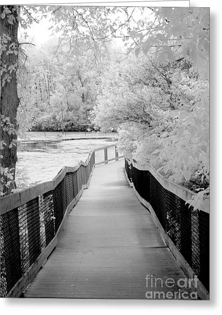 Surreal Infrared Dreamy Landscape Greeting Cards - Surreal Black White Infrared Bridge Walk Greeting Card by Kathy Fornal