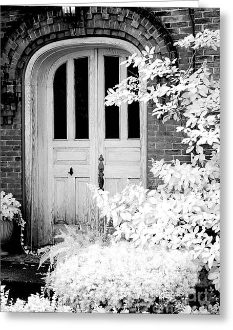 Spooky Door Greeting Cards - Surreal Black White Infrared Spooky Haunting Door Greeting Card by Kathy Fornal