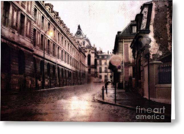 Surreal Dreamy Streets Of Versailles France Greeting Card by Kathy Fornal