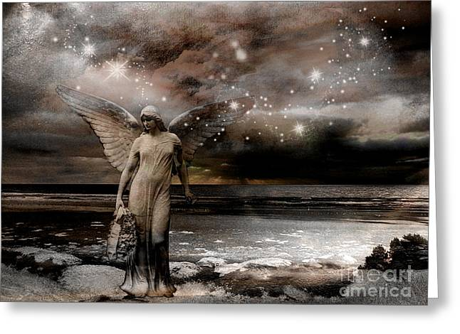 Surreal Angel Art Greeting Cards - Surreal Fantasy Celestial Angel With Stars Greeting Card by Kathy Fornal
