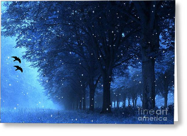 Starlit Greeting Cards - Surreal Fantasy Dreamy Blue Nature Landscape Greeting Card by Kathy Fornal
