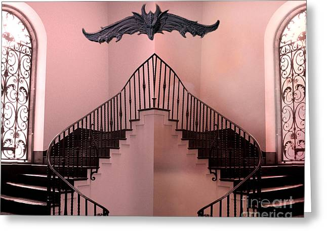 Gothic Surreal Greeting Cards - Surreal Fantasy Gothic Gargoyle Over Staircase Greeting Card by Kathy Fornal