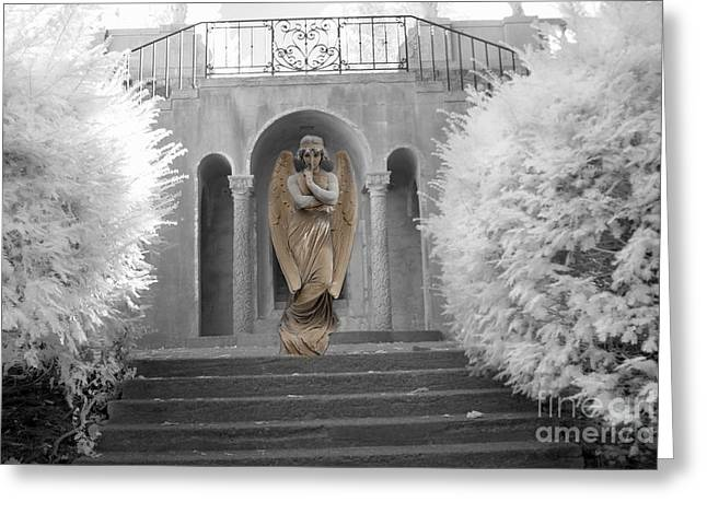 Surreal Fantasy Infrared Fine Art Prints Greeting Cards - Surreal Ethereal Angel Standing On Steps - Surreal Infrared Angel Art Greeting Card by Kathy Fornal