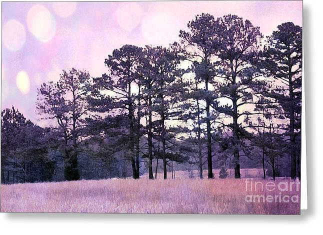 Surreal Pink Nature Prints By Kathy Fornal Greeting Cards - Surreal Fantasy Nature Purple Trees Landscape Greeting Card by Kathy Fornal