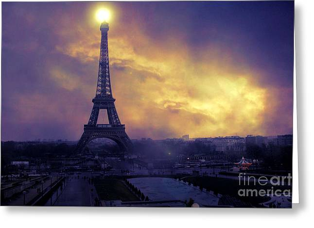 Sunset Prints Greeting Cards - Surreal Fantasy Paris Eiffel Tower Sunset Sky Scene Greeting Card by Kathy Fornal