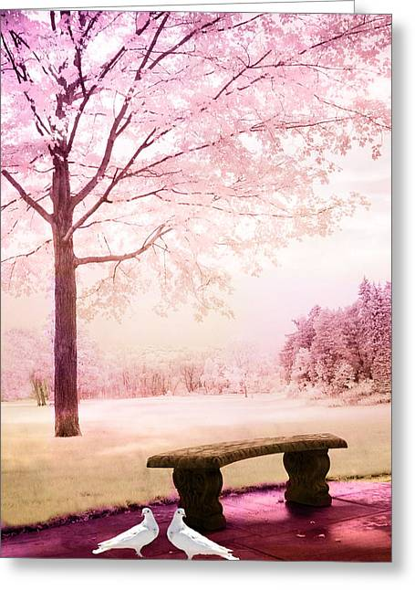Dreamy Pink Nature Photos By Kathy Fornal Greeting Cards - Surreal Fantasy Park Bench With White Doves Greeting Card by Kathy Fornal