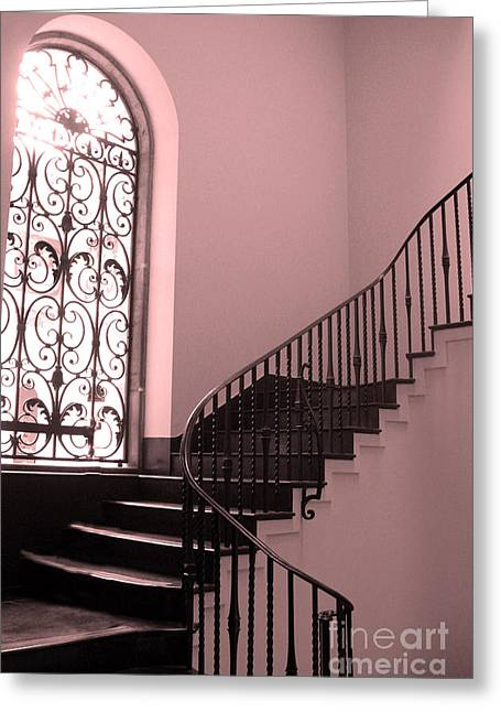 Surreal Fantasy Art Photos Greeting Cards - Surreal Pink and Black Stairs - Architectural Staircase Window and Stairs Greeting Card by Kathy Fornal