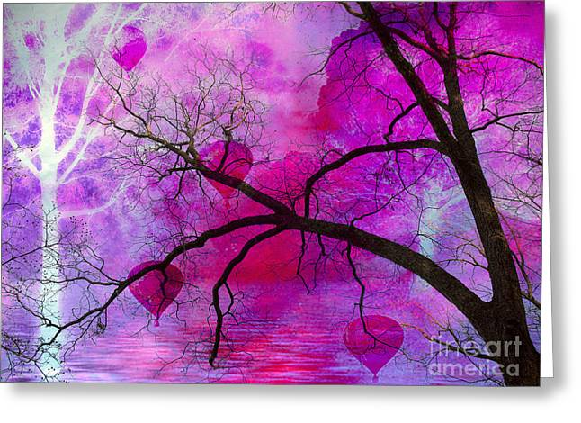 Purple Abstract Greeting Cards - Surreal Fantasy Pink Purple Tree With Balloons Greeting Card by Kathy Fornal