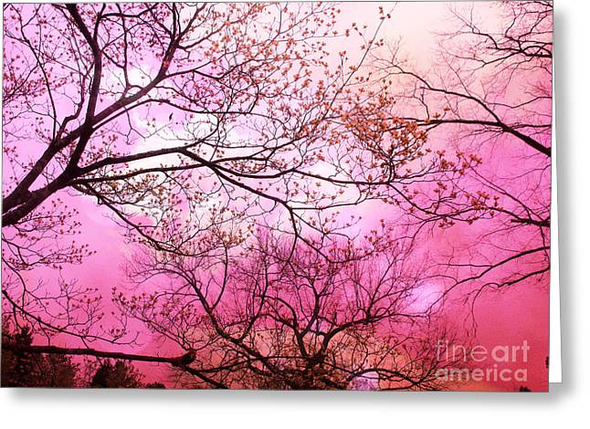 Surreal Dreamy Nature Photos Greeting Cards - Surreal Fantasy Pink Sky and Trees Nature  Greeting Card by Kathy Fornal