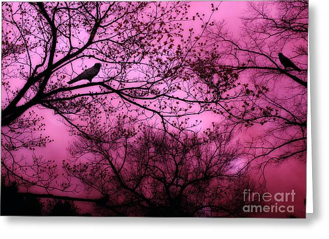 Fantasy Tree Art Greeting Cards - Surreal Fantasy Pink Sky Trees and Ravens Greeting Card by Kathy Fornal