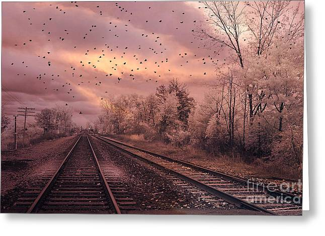Print On Canvas Greeting Cards - Surreal Fantasy Railroad Tracks With Birds Greeting Card by Kathy Fornal