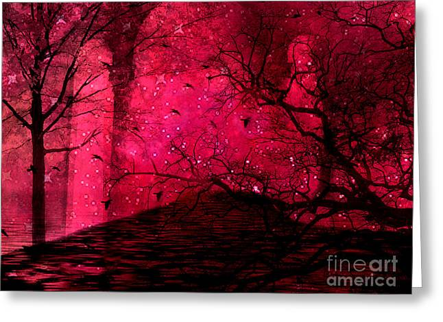 Fantasy Tree Photographs Greeting Cards - Surreal Fantasy Red Nature Trees and Birds Greeting Card by Kathy Fornal