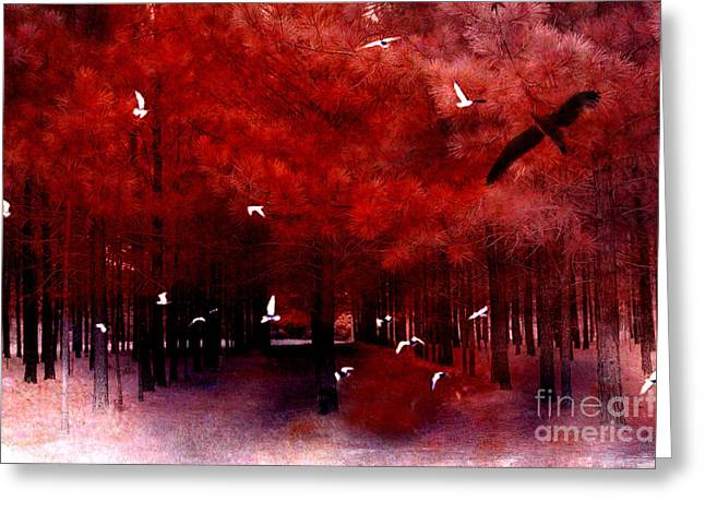 Fantasy Tree Photographs Greeting Cards - Surreal Fantasy Red Woodlands With Birds Seagull Greeting Card by Kathy Fornal