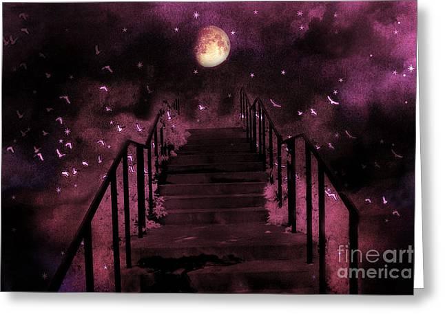 Fantasy Tree Art Print Greeting Cards - Surreal Fantasy Stairs Moon Birds Stars  Greeting Card by Kathy Fornal