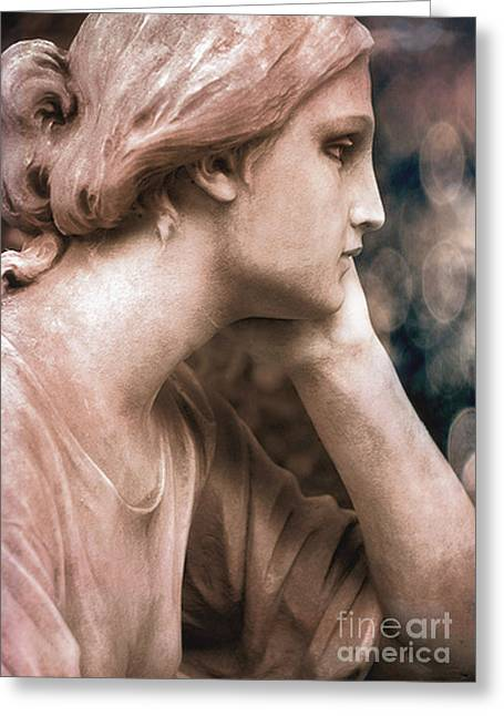 Angel Art Greeting Cards - Surreal Female Face Dreamy Contemplation  Greeting Card by Kathy Fornal