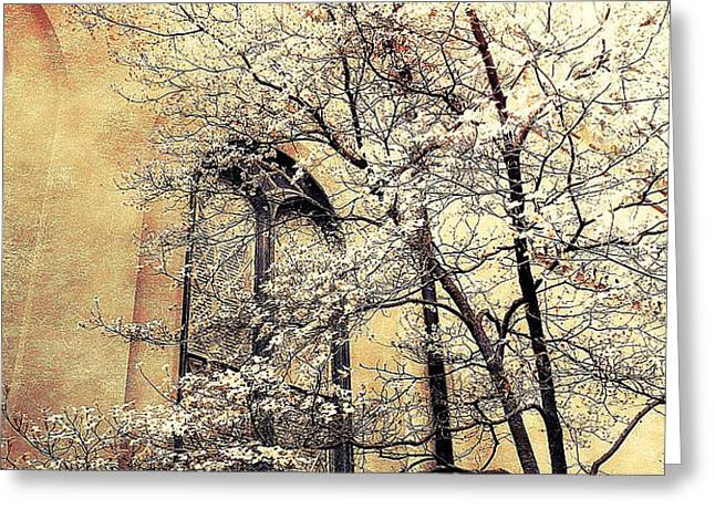 Surreal Gothic Church Window With Fall Tree Greeting Card by Kathy Fornal