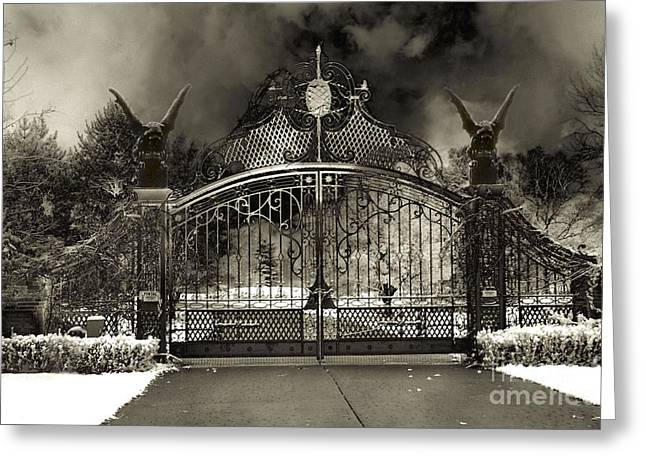 Gothic Surreal Greeting Cards - Surreal Gothic Gate and Gargoyles Stormy Haunted Sepia Nightscape Greeting Card by Kathy Fornal