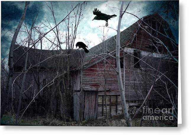 Surreal Barn Prints Greeting Cards - Surreal Gothic Old Barn With Ravens Crows  Greeting Card by Kathy Fornal