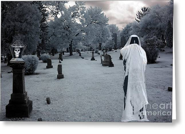 Cemetery Greeting Cards - Surreal Gothic Spooky Grim Reaper and Skull Greeting Card by Kathy Fornal