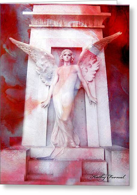 Photographs With Red. Photographs Greeting Cards - Surreal Impressionistic Red White Angel Art  Greeting Card by Kathy Fornal
