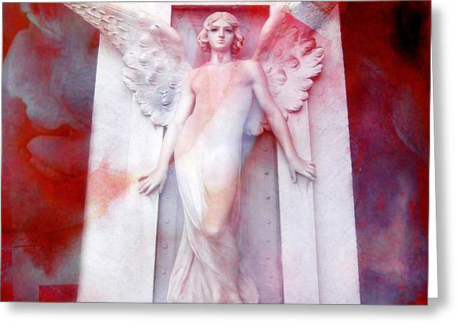 Surreal Impressionistic Red White Angel Art  Greeting Card by Kathy Fornal
