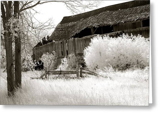 Surreal Infrared Dreamy Landscape Greeting Cards - Surreal Infrared Sepia Michigan Barn Nature Scene Greeting Card by Kathy Fornal