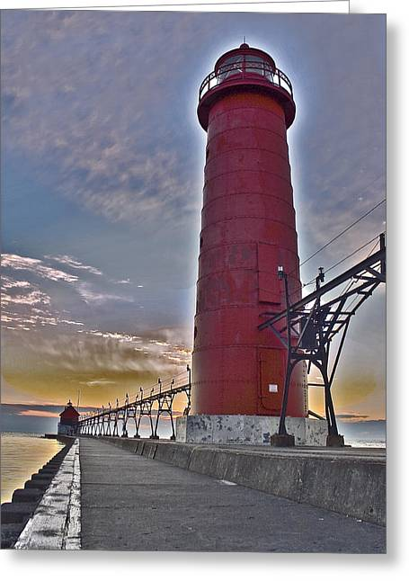 Hdr Landscape Greeting Cards - Surreal Lighthouse Greeting Card by Jeramie Curtice