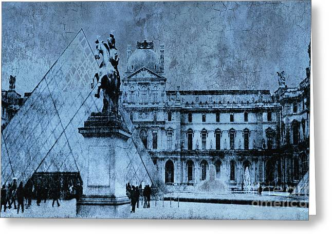 Paris In Blue Greeting Cards - Surreal Paris In Blue - Musee du Louvre Pyramid Greeting Card by Kathy Fornal