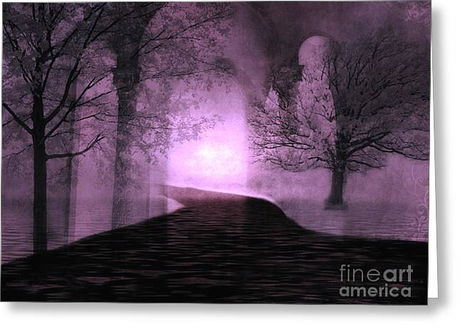 Fairytale Art Greeting Cards - Surreal Purple Fantasy Nature Path Trees Landscape  Greeting Card by Kathy Fornal