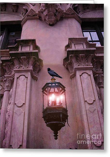 Surreal Raven Gothic Lantern On Building Greeting Card by Kathy Fornal