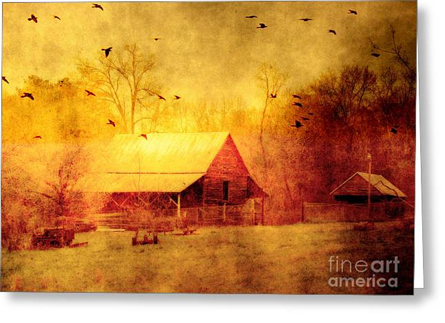 Red Barn Greeting Cards - Surreal Red Yellow Barn With Ravens Landscape Greeting Card by Kathy Fornal